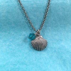 🌿Sterling Shell & Crystal Necklace